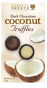 Harvest Sweets Dark Chocolate Coconut Truffles 2.6 oz.