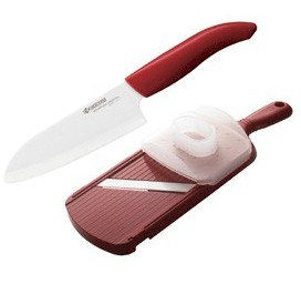 "Kyocera Ceramic 5.5"" Santoku / RED Adjustable Slicer Set"