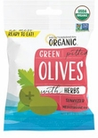 * Mediterranean Organic Green Pitted Snack Olives with Herbs 2.5 oz.