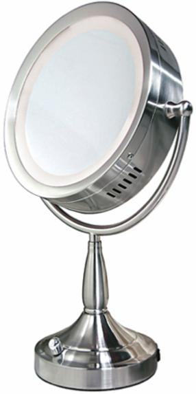zadro lighted 8x 1x round satin nickel vanity mirror. Black Bedroom Furniture Sets. Home Design Ideas