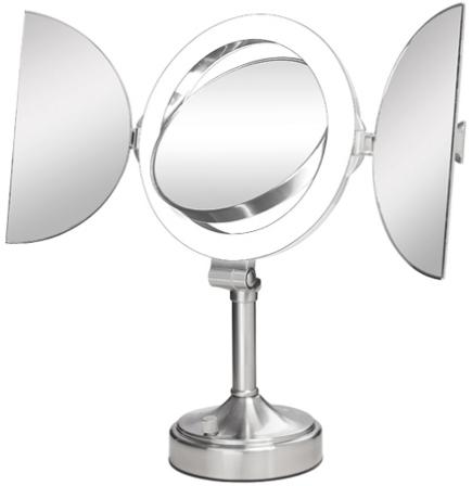 zadro surround light 10x 1x satin nickel tri fold vanity mirror. Black Bedroom Furniture Sets. Home Design Ideas