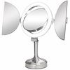 Zadro Surround Light 10X/1X Polished Nickel Tri Fold Vanity Mirror SLVT710