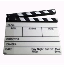 Full Size Lucite Camera Slate Engraved Clapboard
