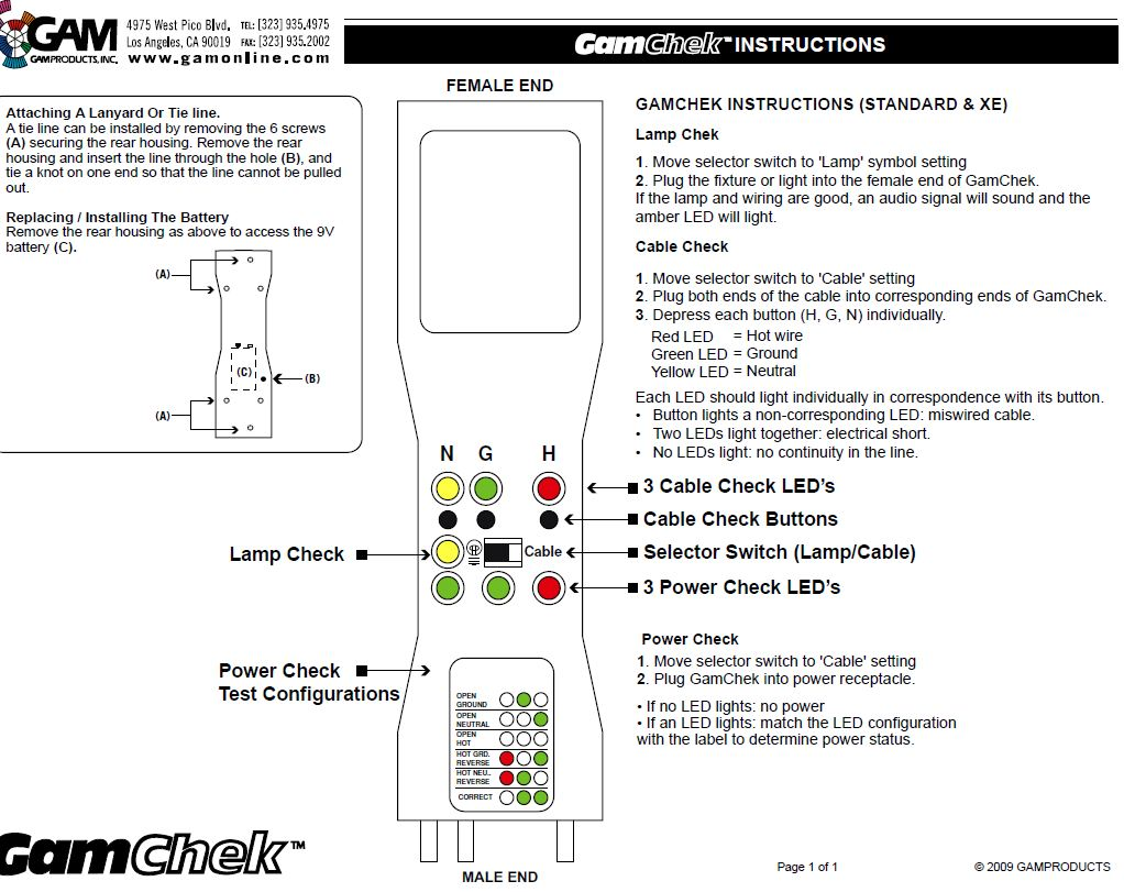 GAM Chek 120V Stage Pin 3-In-1 Electrical Tester - BarnDoor