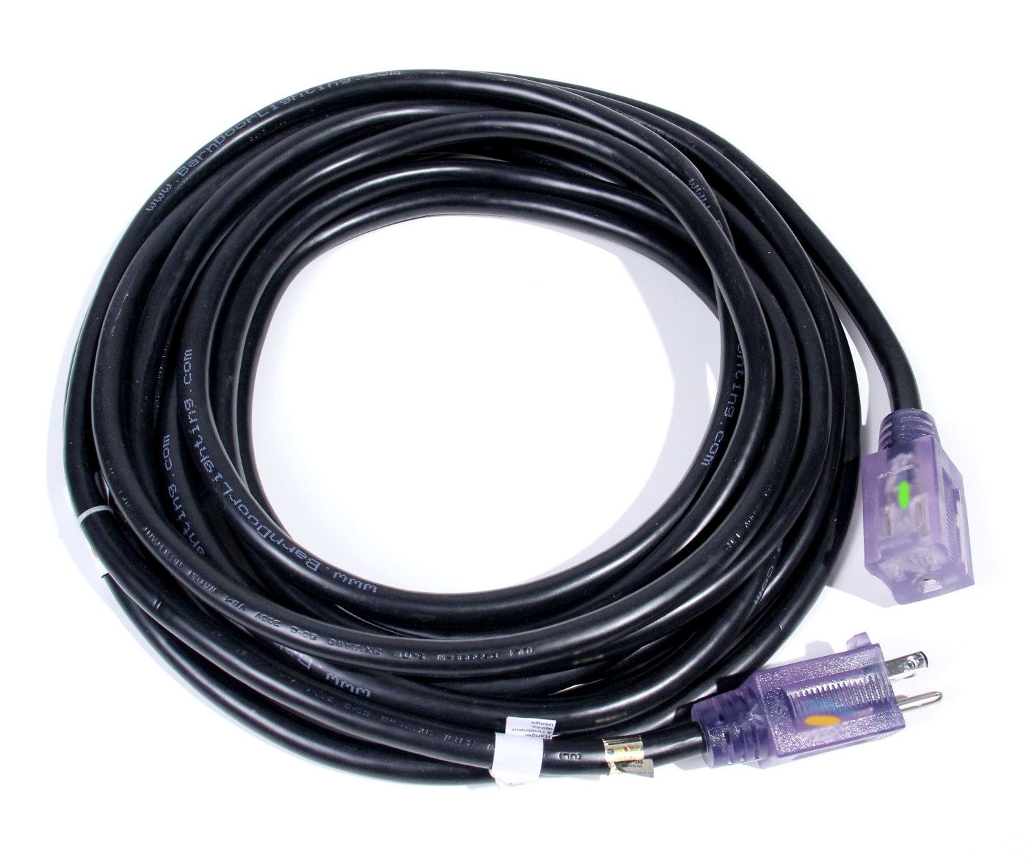 Pro Glo Stinger BLACK Extension Cable 12/3 50ft - BarnDoor Lighting