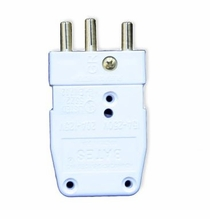 White 20A Stage Pin Plug Male In-Line 120VAC
