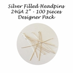 "100 Silver Filled Headpins 24Ga, 2"", 2 inches Bulk Pack Findings, Designer Pack (100)"