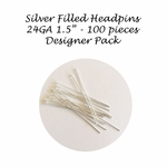 "Bulk Pack Silver Filled Headpins 24Ga,1.5"", 1.5 inches (100) Designer Pack USA"