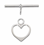 1/10 Silver-Filled Heart Toggle 15mm