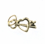 14k Gold-Filled Charm - Heart with Key 6.25x13mm