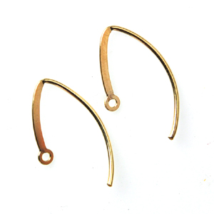 14k Gold Filled Fancy Earwires 20mm, Kidney Shape, Flat, 1 pair, nbr07