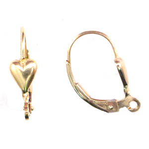 14k Gold-Filled Heart Leverbacks 17mm  (per pair)