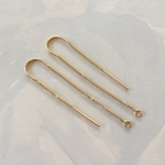14K Gold Filled U-Threader Box Chain drop with ring, Earring Component, Earring Finding (per pair) *new*