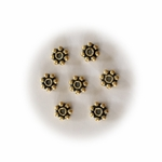 4.5mm Gold Vermeil Bali Style Daisy Spacer Bead, Antiqued 20 pieces