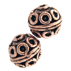 AF Copper Bead 12 - 12.25mm, Antique Finish (2)