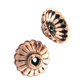 AF Copper Bead Cap 01 - 9mm, Antique Finish (12)