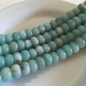 "Amazonite 8mm Rondelle Gemstone Beads Aqua Blue 16"" strand"