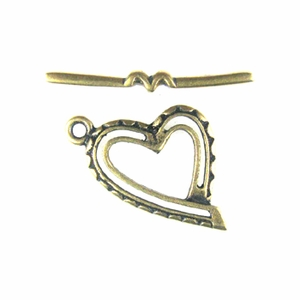 Antique Brass Heart Toggle