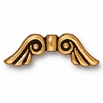 TierraCast Antique Gold Plated Angel Wings Bead (Qty 4)