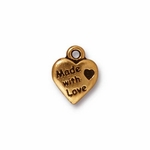 TierraCast Antique Gold Plated Made With Love Charm