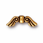 TierraCast Antique Gold Plated Small Angel Wings Bead (Qty 4)