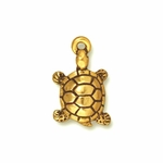 TierraCast Antique Gold Plated Turtle Charm