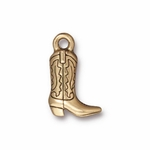 TierraCast Antique Gold Plated Western Boot Charm