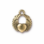 TierraCast Antique Gold Plated Winged Heart Charm (Qty 4)