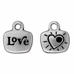 TierraCast Antique Silver Plated 2 Sided Love Message Drop/Charm
