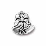 TierraCast Antique Silver Plated Bells Charm (Qty 4)