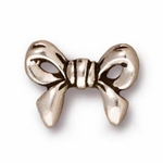 TierraCast Antique Silver Plated Bow Bead (Qty 4)