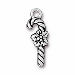 TierraCast Antique Silver Plated Candy Cane Charm