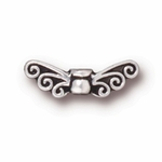 TierraCast Antique Silver Plated Fairy Wings Bead (Qty 4)
