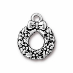 TierraCast Antique Silver Plated Holiday Wreath Charm