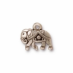 TierraCast Antique Silver Plated Indian Elephant (Gita) Charm (Qty 4)