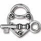 TierraCast Antique Silver Plated Lock & Key Toggle Set