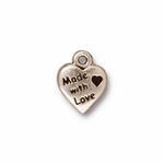 TierraCast Antique Silver Plated Made With Love Charm