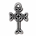TierraCast Antique Silver Plated Medium Celtic Cross Drop/Charm (Qty 4)