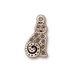 TierraCast Antique Silver Plated Spiral Cat Charm (Qty 4)