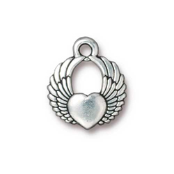 TierraCast Antique Silver Plated Winged Heart Charm (Qty 4)