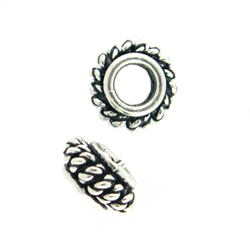 Bali-Style Sterling Silver Bead, large hole 3.5mm 10 pieces, overstock sale. silver bead 21ee