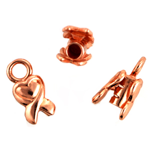 Bright Copper 2mm Heart End Cap Crimping for Chains, Cords and Leather per pair