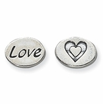 Sterling Silver Love, Heart Message Bead, 11mm, 2 Sided - Closeout