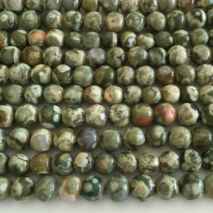 "Rhyolite 6mm, Rain Forest Jasper Green Round  16"" Gemstone"