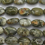 "Rhyolite Rain Forest Jasper Smooth Flat Oval 8x12mm 16"" Gemstone"