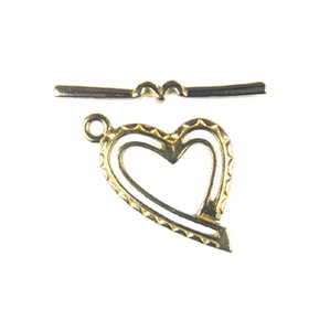 Shiny Brass Heart Toggle