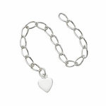 "Silver-Filled Extender Chain - 3"", with 6mm Heart"