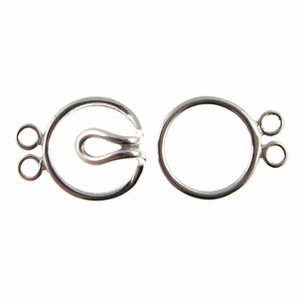 Sterling Silver  13mm Hook 'n' Eye Double Strand Clasps