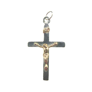 Sterling and 14k Gold-Filled Cross Charm with Ring 31x18mm