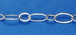 Sterling Silver Chain 338 - Flat Long & Short Oval Cable